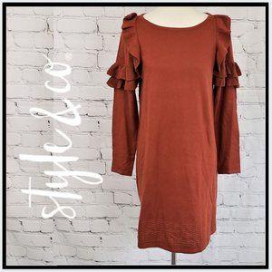 NWT STYLE & CO Rust Ruffle Sweater Dress M